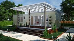 "Front Elevation of ""The Kiev"" - Modular Home by Nova Deko~ perfect for guest house or garden getaway."