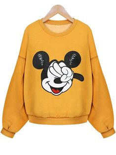 Mickey Print Crop Sweatshirt - Sweat Shirt - Ideas of Sweat Shirt - Cute crop sweat shirt in fleece is my new year gift. Yellow Mickey women sweatshirt is ao lovely i also get a hooded sweatshirt in grey color at remwe .com so cheap with so nice quality ! Hoodie Sweatshirts, Grey Sweatshirt, Graphic Sweatshirt, Hoodies, Sweatshirt Outfit, Cute Disney Outfits, Disneyland Outfits, Cute Outfits, Skater Outfits