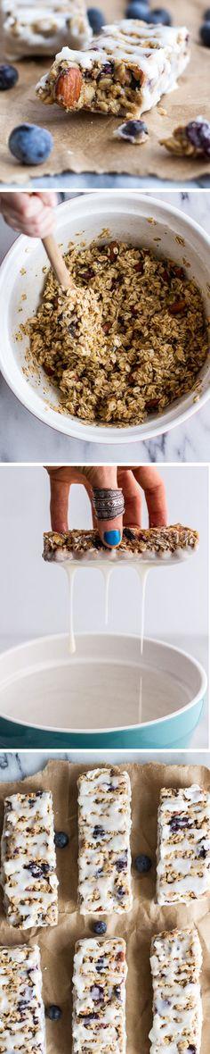 Blueberry Vanilla Greek Yogurt Granola Bars | 30 Healthy After School Snacks for Kids | Quick and Easy After School Snacks for Teens