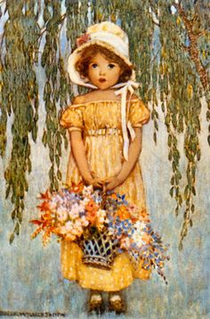 image to use for a Happy May Day card - creative commons image due to lifetime period of painter illustrator Jessie Willcox Smith Posey Girl