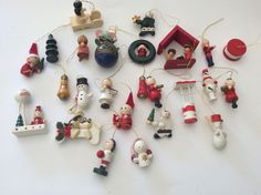 25 x Vintage Box Christmas Tree Wooden Hand Painted Decorations Ornaments    eBay
