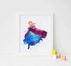 Anna Print, Frozen Disney Watercolor Frozen Nursery Frozen Wall decor,  Disney Princess Poster, Instant download, frozen decorations