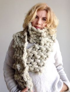 Chunky knit scarf Beige wool giant merino yarn arm knitted cowl Big long bulky winter soft neck warmer Unisex gift for winter holiday Chunky Knit Scarves, Scarf Knit, Cozy Scarf, Chunky Wool, Slow Fashion, Ethical Fashion, Wool Yarn, Merino Wool, Mountain Fashion