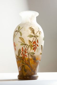 Daum, Nancy.  Vase with Berries (France) 1910.