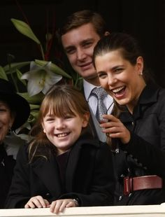 (L-R) Princess Alexandra of Hanover with her sister Charlotte Casiraghi and Pierre Casiraghi