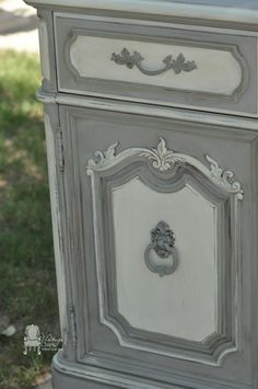 painted french china hutch makeover, home decor, painted furniture, repurposing upcycling, Maison Blanche Franciscan Grey Hurricane and custom mix of Magnolia and Baguette to create the off white