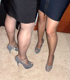 Pantyhose and heels with my wife.  Love these moments.