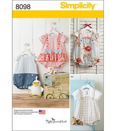 These adorable one piece rompers for babies features in checks, stripes and floral for an easy and fun look. Pattern also includes fabric sandals, and squishy stuffed duck. Ruby Jeans Closet for Simpl