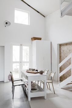 ♥ Great monochromatic room. I love that it includes so many DIY project ideas and items to pick up on my next junk run. Is that a fabric covered sliding door?