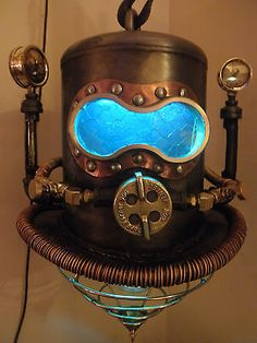 Steampunk Shallow Water Diving Helmet Machine Age Industrial Hanging Lamp Art