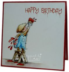 Netty's Cards: A Lick of Paint Boy Cards, Kids Cards, Men's Cards, Tiddly Inks, Birthday Cards For Boys, Handmade Card Making, Beautiful Handmade Cards, Digi Stamps, Watercolor Cards