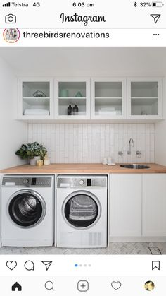 LAUNDRIES One of my favourite spaces to design. This one was tiny, and instead of having a normal sized door, we installed a double sized entry to make this small little space, feel a whole heap bigger! Laundry In Bathroom, Bathroom Renos, Laundry Rooms, Back Door Entrance, Timber Benchtop, Utility Room Designs, Laundry Design, Van Living, Living Spaces