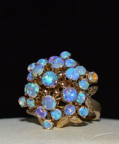 ESTATE 14K YELLOW GOLD OPAL DOME RING-SZ 5.5-585-VAULTED FLORAL CLUSTER!  WOW #Cluster