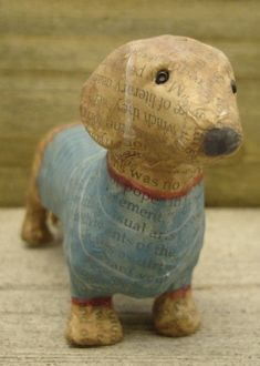 papier mache dachshund mod podge any figurine and then do a color wash over it. Paper Mache Projects, Paper Mache Clay, Paper Mache Sculpture, Paper Mache Crafts, Art Projects, Origami, Dachshund Art, Daschund, Paper Mache Animals