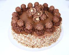 En underbar tårta med krämig fyllning av nutella och med Ferrero Rocher topping. Inspiration fann jag på den här engelska sidan. En underbar tårta som faktiskt inte är alls svår att baka, men ser väld Chocolate Ganche, Ferrero Rocher, Hazelnut Meringue, Torte Cake, Cone, Death By Chocolate, Baileys Irish Cream, Food Cakes, Cake Recipes