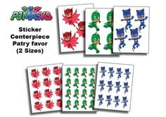 ***INSTANT DOWNLOAD*** Pj masks printable Stickers / PARTY FAVORS Just print, cut out, and attach to anything that you want such Balloons, Treat Bags, Cups, Boxes, wall decor etc... ❀ ❀ ❀ You will recieve:❀ ❀ ❀ 2 sizes for the 3 character - 5inch + 2.5inch (6 jpeg files)