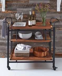 The @bhg  Rustic Country Bar Cart in Antiqued Black/Pine is essential for easy entertaining!