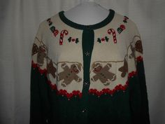 WOOLRICH Sz M Medium Women Christmas Sweater Cardigan Gingerbread Man Green Red #Woolrich #Cardigan #Christmas