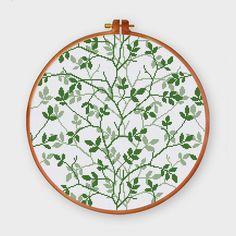Floreciente verde punto de cruz patrón  Árbol de hoja moderna by ThuHaDesign | Etsy