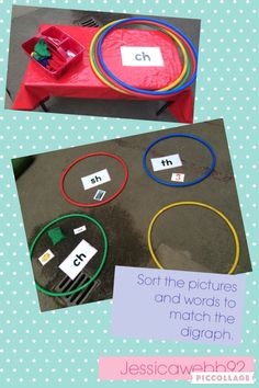 Sorting words and pictures by their phase three phonics initial sound. Phonics Games, Phonics Reading, Teaching Phonics, Literacy Stations, Kindergarten Literacy, Early Literacy, Classroom Activities, Learning Activities, Word Games