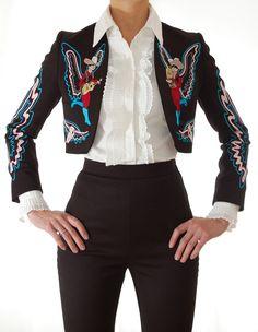 Handmade Bolero Jacket - San Antonio Fritz - Western Wear for Rocket, Ranch & Rodeo Chain Stitch Embroidery, Embroidery Stitches, Bolero Jacket, Western Wear, Rodeo, San Antonio, Custom Made, Westerns, Ranch