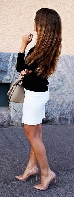 Marianna Mäkelä wears white bodycon skirt with cute black blazer.  Sweater/Skirt: Tiger of Sweden, Heels: Roberto Festa, Bag: Céline.... | Style Inspiration