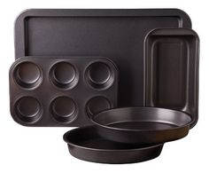 Non-Stick Interior for Low-Fat Cooking and Easy Cleanup, Easy Release for Professional Results.  - http://kitchen-dining.bestselleroutlet.net/product-review-for-sunbeam-76893-05-kitchen-bake-5-piece-bakeware-set-carbon-steel/