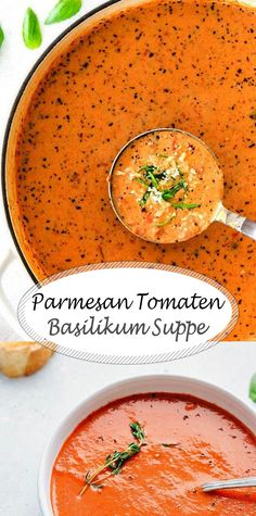 Parmesan Tomato Basil Soup That Will Warm Your Heart And Belly - Essen herzhaft - Soup Recipes Gourmet Recipes, Soup Recipes, Vegetarian Recipes, Dinner Recipes, Cooking Recipes, Healthy Recipes, Chicken Recipes, Cooking Ham, Recipies