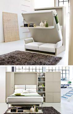 44 Cozy Furniture Design For Small Apartments Folding Furniture, Space Saving Furniture, Furniture For Small Spaces, Small Rooms, Small Apartments, Furniture Design, Cozy Furniture, Hallway Furniture, Bed Design