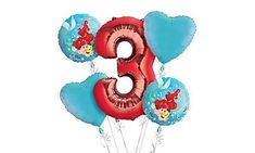 Little Mermaid 3rd Birthday Balloon Bouquet 5pc  Party City