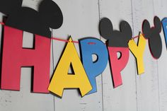 Mickey Mouse Birthday Banner Red, Blue, Yellow, Black #babyshowerideas4u #birthdayparty #babyshowerdecorations #bridalshower #bridalshowerideas #babyshowergames #bridalshowergame #bridalshowerfavors #bridalshowercakes #babyshowerfavors #babyshowercakes