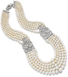 Five strand Art Deco natural pearl and diamond necklace by Cartier, circa 1930.
