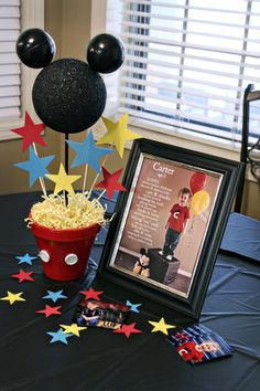 Flower pot Mickey, cute photo idea-but use 4 balloons for 4 yrs old, some cute games in  post-Donalds duck pond (use ball pit balls instead of water), and diy clubhouse bean bag toss