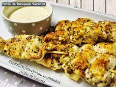 Ponto de Rebuçado Receitas: Espetos de frango com mostarda e molho de iogurte