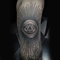 All Seeing Eye Knee Sun Ray Male Tattoos