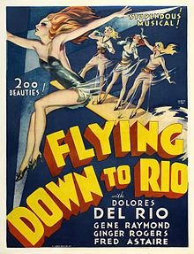 Flying Down to Rio is a 1933 RKO musical film noted for being the first screen pairing of Fred Astaire and Ginger Rogers, although Dolores del Río and Gene Raymond received top-billing. Among the featured players Franklin Pangborn and Eric Blore are notable. The songs in the film were written by Vincent Youmans (music) and Gus Kahn and Edward Eliscu (lyrics), with musical direction and additional music by Max Steiner.