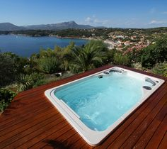 Hydropool swim spas are built to last the toughest winters. They also work well in beautiful weather like this!