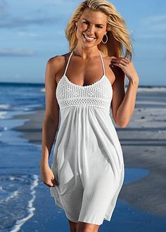 WHITE Crochet bust halter dress from VENUS