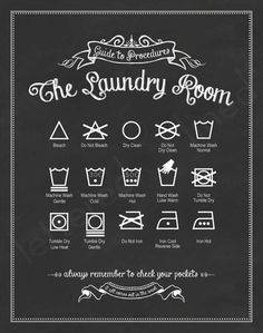 Guide to Procedures: The Laundry Room by Lettered & Lined - $23.00 » This Etsy shop offers a variety of colors for this fun laundry room print, but my favorite is the black because it has the look of chalkboard art.