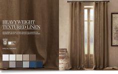 living/dining room  Heavyweight Textured Belgian Linen Drapery