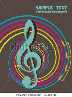 58864415: musical theme background with violin key - vintage vector Illustration