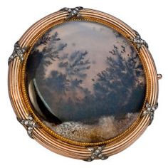 CARL FABERGE Rose Gold Moss Agate Brooch