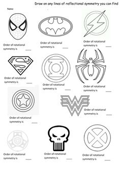 Superhero symmetry- rotation and reflection worksheet