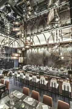 AMMO Restaurant and bar, Hong Kong. Design by Joyce Wang modern restaurant design, illusion Design Café, Bar Interior Design, Design Hotel, Cafe Design, Design Ideas, Store Design, Lobby Design, Bar Designs, House Design
