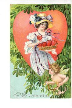 US2275 Postcard Artist Designed Valentine Woman tray of hearts