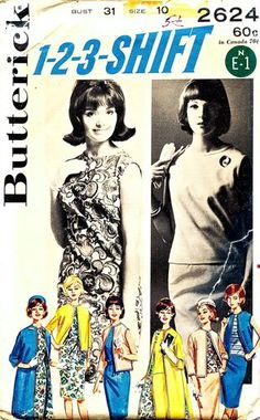 Butterick Pattern 2624 Vintage 60's 1-2-3-Shift - Mix and Match Pieces = Eight Outfits  Complete Size 19 Bust 31