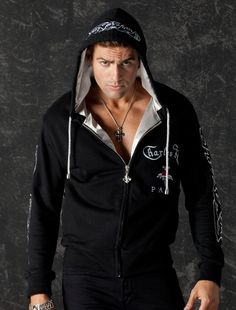 Black Men Hoodie Glam Rock Metal Logo Long Sleeve Rock n Roll Men Jacket sold by Charles King Paris. Shop more products from Charles King Paris on Storenvy, the home of independent small businesses all over the world. Unique Hoodies, Rock Outfits, Glam Rock, Black Cotton, Black Men, Rebel, V Neck T Shirt, My Style