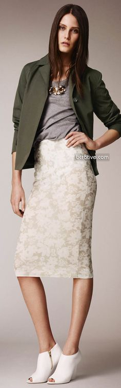 Burberry Prorsum Pre Spring 2014 Collection. Olive Green Blazer with Cream Flower printed pencil skirt
