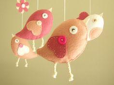 Baby crib mobile Bird mobile girl mobile Bird by atelierbloom