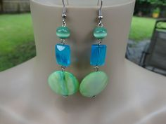 Handmade Lime Mother of Pearl ,Cat Eye and Turquoise Glass Bead Earrings #Handmade #DropDangle